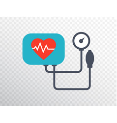 heart pressure icon in flat style arterial blood vector image