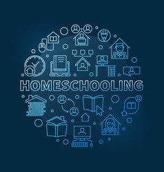 homeschooling concept round blue linear vector image