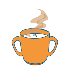 Hot and delicious coffee cup vector