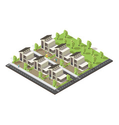 isometric complex suburban buildings concept vector image