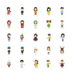 Kids cartoon characters flat icons vector