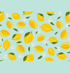 lemon fruits seamless pattern with flower and vector image