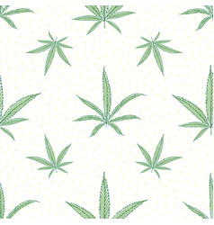 linocut style green cannabis leaves with offset vector image