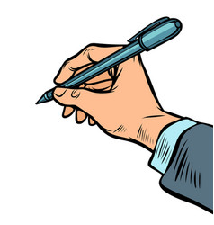 man hand with a pen vector image