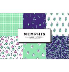 memphis seamless patterns set vector image