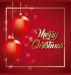 merry christmas card cute red balls hanging vector image
