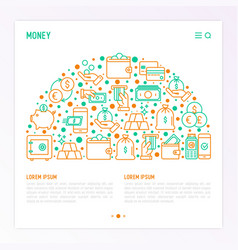 money concept in half circle with thin line icons vector image