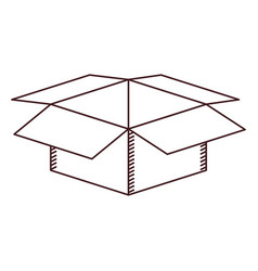 Monochrome silhouette with box of cardboard opened vector