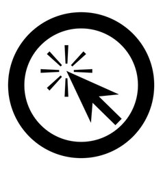 mouse click icon black color in circle or round vector image