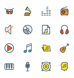 Music icons colored line set with soundtrack vector