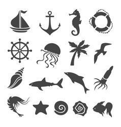 Nautical sea related design elements set vector