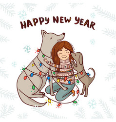 new year card with girl and dogs white background vector image