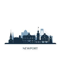 Newport skyline monochrome silhouette vector