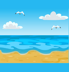 ocean beach waves and blue sky with white clouds vector image