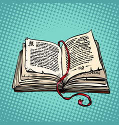 Open old book with text fairy tale or novel vector