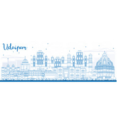 Outline udaipur skyline with blue buildings vector