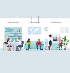 people in bank interior flat vector image