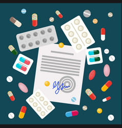 pills in flat style design vector image
