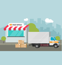 post office on city street and cargo truck loading vector image