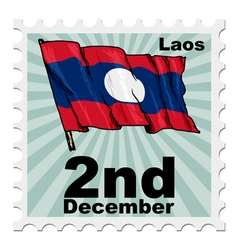 Post stamp of national day of Laos vector