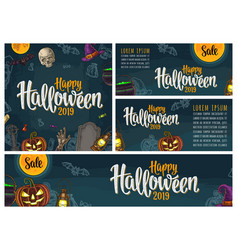 posters with happy halloween lettering vector image