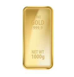 Realictick gold bar on the white background vector