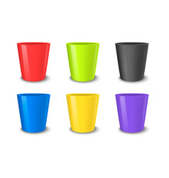 Realistic empty flower pot set bright vector