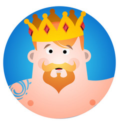 Round sticker with a man in the crown cartoon for vector