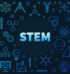 Science technology engineering and math blue vector