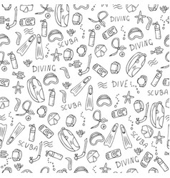 seamless pattern of scuba diving equipment vector image