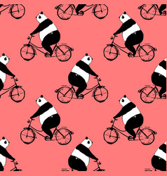 seamless pattern with panda bear on bicycle vector image