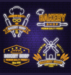 set bakery shop neon bright signboard light vector image
