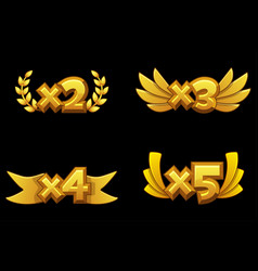 set bonuses gold numbers vector image
