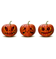 set halloween pumpkins in with different vector image