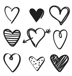 set hand drawn hearts on white background vector image