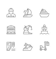 set line icons marine port vector image