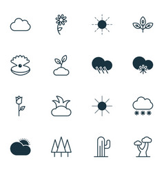 Set of 16 ecology icons includes forest seashell vector