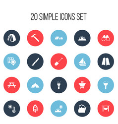 Set of 20 editable camping icons includes symbols vector