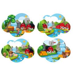 set of farm scenes vector image