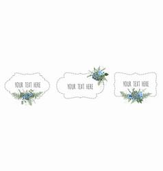 set vintage labels with flowers frame vector image