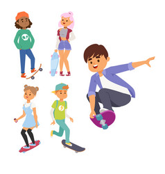 Skateboard characters stylish skating kids vector