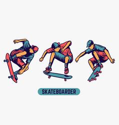 Skateboarder colored design element vector