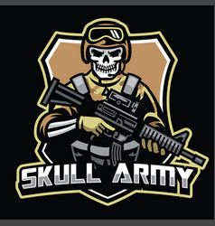 skull soldier mascot hold the assault riffle vector image