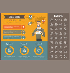 Social media infographic template elements icons vector