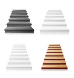staircase set white wooden dark 3d vector image