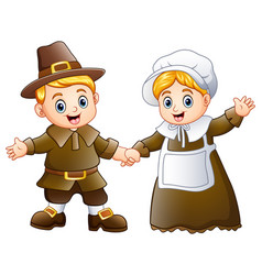 Thanksgiving day of pilgrim couple waving vector