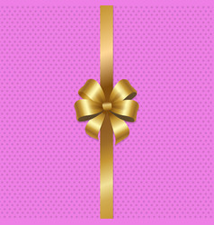 tied gold bow with ribbon in center pink vector image