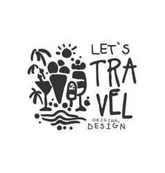 Time to travel logo with summer cocktail and ice vector