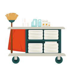 Tray with mop chemical cleaners and fresh towels vector