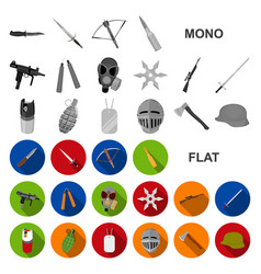 Types of weapons flat icons in set collection for vector